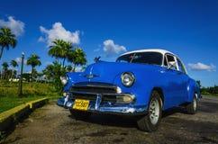 Blue classic American car in Havana, Cuba Stock Photos