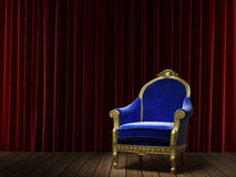 Blue classic armchair on red Stock Image