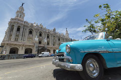 Blue classic car in Cuba. An old american car in front of the National Theatre in Havana, Cuba stock image