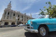 Blue classic car in Cuba Stock Image