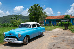 Blue classic car in Cuba Royalty Free Stock Image