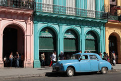 Blue classic car on Paseo Stock Image