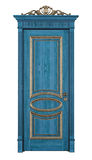 Blue classic door on white Royalty Free Stock Photos