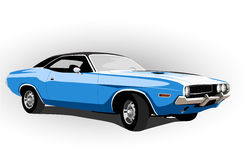 Blue classic hot car Royalty Free Stock Image