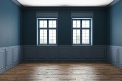 Blue classic interior. Empty blue classic interior with wooden floor, windows and daylight. 3D Rendering Stock Image