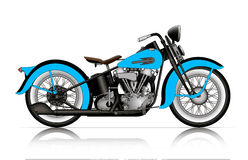 Blue classic motorcycle Royalty Free Stock Images