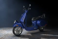 Blue Classic Vintage Retro or Electric Scooter in the Volumetric Light. 3d Rendering vector illustration