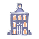 Blue Classy Building, Cute Fairy Tale City Landscape Element Outlined Cartoon Illustration Royalty Free Stock Images