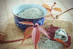 Blue clay is in a porcelain drinking bowl Royalty Free Stock Photos