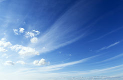 Blue and clean sky. Blue sky and clouds landscape.Wind day Stock Photos