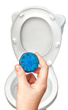 Blue cleaning tablet for sanitizing toilet bowl in hand housewif Royalty Free Stock Photography