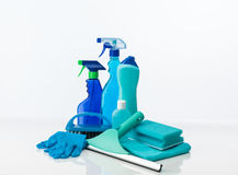 Blue cleaning tools Royalty Free Stock Photo