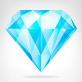 Blue clear diamond side view vector Royalty Free Stock Photo