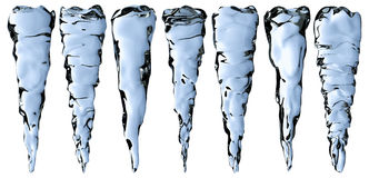 Blue clear icicles set Royalty Free Stock Image