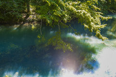 Blue clear lake. Blue clear lake in the shade of trees Royalty Free Stock Photo