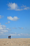 A blue clear sky with beach and ocean royalty free stock photo