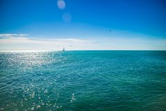 A blue clear sky with scenic view in Key West, Florida. The overlooking view of the nature in the island of Florida Keys stock photography