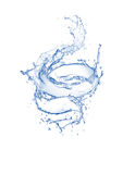 Blue clear swirling water splash isolated on white background.  stock photos