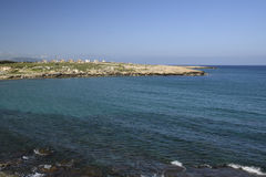 Blue clear water and blue in the North of Cyprus Royalty Free Stock Photography