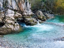 Blue clear water of the mountain river stock photo