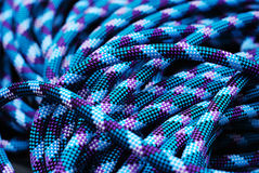 Blue climbing rope Royalty Free Stock Photography