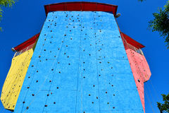 Blue climbing wall Stock Images