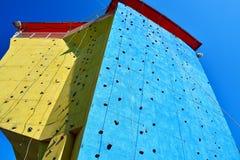 Blue climbing wall Royalty Free Stock Photos