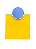 Blue clip with yellow sticky note. Royalty Free Stock Images