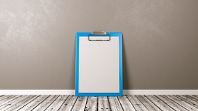 Blue Clipboard with Blank Paper Against Wall. Blue Clipboard with Blank Paper on Wooden Floor Against Grey Wall with Copyspace 3D Illustration Royalty Free Stock Image