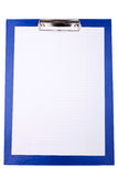 Blue clipboard with blank sheet of paper Royalty Free Stock Image