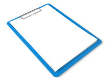 Blue clipboard with blank sheets of paper Stock Image