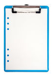 Blue clipboard and paper isolated Stock Photo