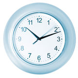 Blue clock. Blue toned clock with running second hand Royalty Free Stock Photo