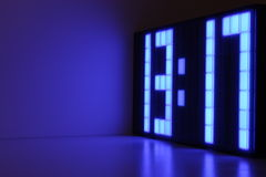 Blue Clock. A digital blue LED clock Stock Photography