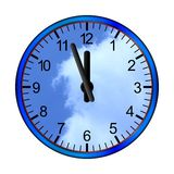 Blue clock clouds Royalty Free Stock Images
