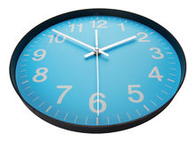 Blue clock face. Close up. Isolated on white Stock Images