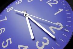 Blue clock face. Close up stock photos