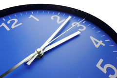 Blue clock face. Close up Royalty Free Stock Images