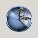 Blue clock with the gear-wheel Royalty Free Stock Photos