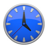 Blue clock icon. With 12 lines, plus a minute hand which makes one revolution an hour and an hour hand which makes one revolution in 12 hours like most clocks vector illustration