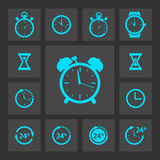 Blue clock icons set Royalty Free Stock Image