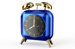 Blue clock in the shape of heart. On white background Royalty Free Stock Photography
