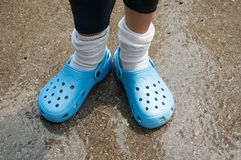 Blue clogs slipppers Royalty Free Stock Images