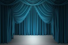 Blue closed the curtain Stock Photos
