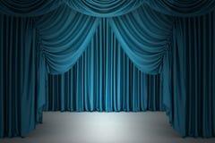 Blue closed the curtain Stock Photos