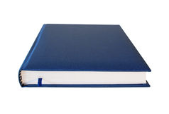 Blue closed diary isolated. Over white background. Perspective view Stock Photos