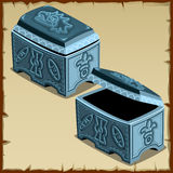 Blue closed and open chest, two Royal items Stock Image