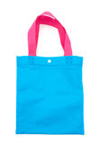Blue cloth bag or fabric bag with pink carrying strap mockup tem Royalty Free Stock Images