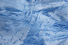 Blue cloth. Curtains yarn texture. Stock Images