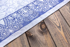 Blue cloth on wooden table, top view Stock Image